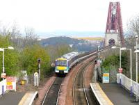 A Fife circle train restarts from Dalmeny on 30 April 2005 and heads out onto the Forth Bridge.<br><br>[John Furnevel&nbsp;30/04/2005]