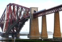 More scaffolding than bridge! Serious maintenance work on the Forth Bridge in April 2005. [See image 40857]<br><br>[John Furnevel&nbsp;30/04/2005]