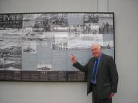 Alastair Alexander stands alongside his photomontage at Gourock on 5 September.<br><br>[John Yellowlees&nbsp;05/09/2012]