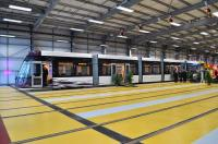 First of the newly delivered Blackpool Supertrams, photographed during an official ceremony in the new tram depot at Starr Gate on 8 September 2011 [see news item].<br><br>[Tony Roberts (Courtesy Mark Bartlett)&nbsp;08/09/2011]