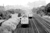 DMUs to and from Fife pass at Saughton in June 1973.<br><br>[John Furnevel&nbsp;15/06/1973]
