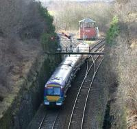 A southbound train taking the Glasgow line at Hilton Junction in February 2005.<br><br>[John Furnevel&nbsp;12/02/2005]