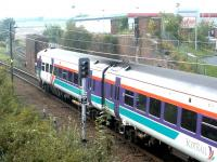 Having just left Brunstane station, a train from Bathgate heads for its ultimate destination at Newcraighall on 15 October 2002.<br><br>[John Furnevel&nbsp;15/10/2002]