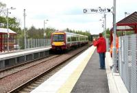 Byeeee..... Off on a train to Glasgow on 9 May 2005 - from the new Gartcosh station! <br><br>[John Furnevel&nbsp;09/05/2005]