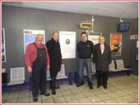 Photocall at Bishopbriggs on 30 November with (left to right) John Watson, Cllr Alan Moir, Jimmy Watson of 'Friends of Thomas Muir' and John Yellowlees of First ScotRail. See Evening Times news item.<br><br>[First ScotRail&nbsp;30/11/2010]