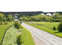 A GNER HST crossing the A911 road on Markinch Viaduct in May 2005 - photographed looking east.<br><br>[John Furnevel&nbsp;01/05/2005]