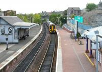 Train from Edinburgh arriving at Inverkeithing on 11 May 2005. The excavation work underway on the right is in connection with station access improvements.<br><br>[John Furnevel&nbsp;11/05/2005]