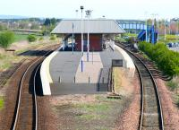 Formerly Leuchars Junction, the current Leuchars Station is seen looking north on 19 May 2005. The infilled bay was used by trains serving St Andrews and the Fife coast route. The St Andrews branch finally closed in 1969.<br><br>[John Furnevel&nbsp;19/05/2005]