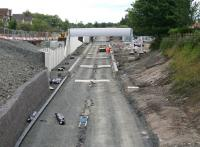 Progress on the new station at Caldercruix - view east on 27 July 2010. <br><br>[John Furnevel&nbsp;27/07/2010]