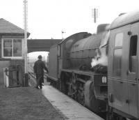 <I>Scottish Rambler no 5</I> during a photostop at Bogside Race Course in April 1966 on the leg from Ardrossan to Girvan behind B1 61342. Opened in 1840 as plain Bogside the suffix Race Course was carried between 1952 and 1965. The station closed, having reverted to its original name, on 2 January 1967.<br><br>[K A Gray&nbsp;10/04/1966]