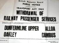 Closure notice concerning passenger services on the Stirling - Dunfermline route dated 30 May 1966. Withdrawal eventually took place in October 1968.<br><br>[Jim Peebles&nbsp;30/05/1966]