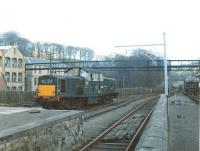 Clayton D8561, the locomotive on the last freight to visit Penicuik, shunts Valleyfield paper mill in the early part of April 1967, some 16 years after the branch had lost its passenger service. <br><br>[Jim Peebles&nbsp;/04/1967]