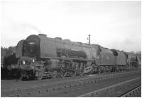 A striking pair of Stanier <I>Coronation</I> Pacifics standing ready for the road at Kingmoor shed in the early sixties. Nearest the camera is 46244 <I>King George VI</I> with 46257 <I>City of Salford</I> beyond.<br><br>[K A Gray&nbsp;//]