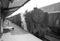 72009 <I>Clan Stewart</I> simmers on a train at Carlisle platform 1 in the sixties.<br><br>[Robin Barbour Collection (Courtesy Bruce McCartney)&nbsp;//]
