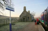 6.44am on 31 March 2007 and the first train of the day from Thurso arrives at Kinbrace.<br><br>[Ian Dinmore&nbsp;31/03/2007]