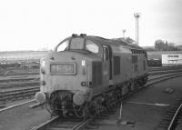 Class 37 No. D6903 standing at the north end of Millerhill Yard on Wednesday 18th February 1970 prior to working the 15.07 Millerhill to Leith South trip. The 1E3- reporting number suggests not that the loco has previously worked an up ECML express but that the right hand blind in the headcode box is inoperative, preventing the correct Edinburgh Area pilot number, E13, being displayed. Photographed from the veranda of a brake-van attached at the front of the train for an EURS party. The consist behind D6903 was about 20 loaded coal wagons plus two brake vans.  The coal wagons were for Portobello power station and were deposited in the SSEB exchange sidings at Kings Road.  This left just the two brake vans to take forward from Kings Road to Leith South yard (with thanks to Andrew Boyd).<br><br>[Bill Jamieson&nbsp;18/02/1970]