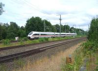 A Berlin bound ICE train at speed on the outskirts of Lubeck  on the morning of July 24th 2010.<br><br>[John Steven&nbsp;24/07/2010]