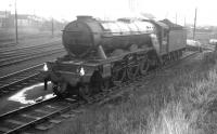A3 Pacific no 60075 <I>St Frusquin</I> stands on the turntable road of its home shed at Darlington in October 1963. The locomotive was nearing the end of its operational life at this stage and was withdrawn by BR the following January to be finally cut up at nearby Darlington Works a month later.  <br><br>[K A Gray&nbsp;26/10/1963]