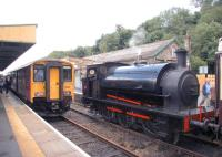 The 14.10 (summer Sundays) FGW service from Exeter St Davids arrives at Okehampton station on the Dartmoor Railway on 30 July 2006<br><br>[Ian Dinmore&nbsp;30/07/2006]