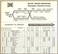 Part of the BR ScR timetable from 7 Sep 1964 to 13 Jun 1965 covering the South Clyde 'Blue Trains'.<br><br>[David Panton&nbsp;07/09/1964]