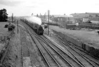 73062 heads south through Yate with a freight in 1960. <br><br>[John Thorn&nbsp;//1960]