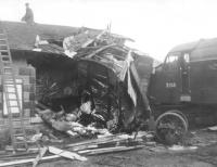 Mishap at Grantshouse. A second photograph taken at Grantshouse station on 9 August 1961, the day after the crash involving D249. [See image 30150]  <br><br>[Jim Peebles&nbsp;09/08/1961]
