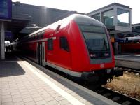 The recent completion of the electrification of the line from Lubeck to Travemunde on the Germany coast, has reduced the journey time from thirty five minutes to twenty. A double-deck train basks in the hot afternoon sunshine while awaiting departure for the coast on 26 July 2010.<br><br>[John Steven&nbsp;26/07/2010]
