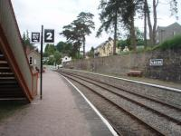 Beautifully restored Parkend, on the preserved Dean Forest Railway, is seen on a quiet Saturday morning before the first train of the day. This view looks north towards the level crossing, beyond which are the buffer stops and limit of operation.<br><br>[Mark Bartlett&nbsp;12/06/2010]