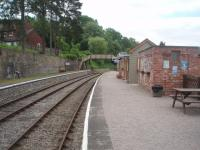 The restored station buildings at Parkend, are a credit to the Dean Forest Railway volunteers. This view looks south towards Norchard and Lydney on a Saturday morning before the day's services had commenced. [See image 40767]<br><br>[Mark Bartlett&nbsp;12/06/2010]