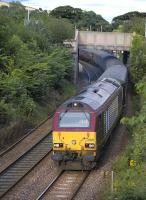 67025 climbs away from Aberdour with empty stock off the 17.21 Edinburgh - Cardenden on 10 August.<br> <br><br>[Bill Roberton 10/08/2010]