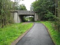 The bridge carrying the A81 road over the trackbed at Flanders Moss, Gartmore, in August 2010.<br><br>[Alistair MacKenzie 10/08/2010]