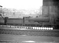 Reid D34 no 62494 <I>Glen Gour</I> on shed at Hawick in June 1959, some 2 months after official withdrawal by BR. The ex-North British 4-4-0 was cut up at Wards of Wishaw by the end of August that year.<br><br>[Robin Barbour Collection (Courtesy Bruce McCartney)&nbsp;24/06/1959]