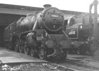 Black 5 no 44967 stands alongside BR Standard class 4 no 80110 on Eastfield shed in the early 1960s. <br><br>[Jim Peebles&nbsp;//]