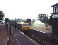 47709 <I>The Lord Provost</I>, with the inaugural train from Dyce on the re-opening of the station on 15 September 1984. A special hospitality tent was erected on the location of the Formatine and Buchan platforms which had been filled in to act as a car park.<br><br>[John Williamson&nbsp;15/09/1984]