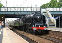 Ex-LMS Coronation Class Pacific no 6233 <I>Duchess of Sutherland</I> <br> coasts through Leyland on the Down Slow line on 5 June 2010 returning south after a railtour to Carlisle.<br><br>[John McIntyre&nbsp;05/06/2010]