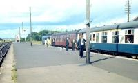 Scene at Wick in 1968 with a type 2 preparing to leave with a train for Inverness.<br><br>[Bruce McCartney&nbsp;//1968]
