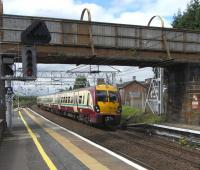 334 016 pulls into the up main platform 1 at Motherwell on 14 August with a service to Lanark.<br><br>[David Panton&nbsp;14/08/2010]