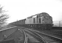 EE Type 4 no D285 runs off the Royal�Border Bridge with a fitted freight, thought to be the 6S68 01.40 Whitemoor - Millerhill, on Saturday 21 February 1970.<br><br>[Bill Jamieson&nbsp;21/02/1970]