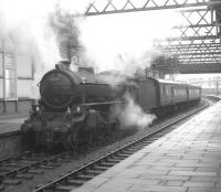 The BLS/SLS <I>Scottish Rambler No 5</I> on arrival at Ardrossan's Montgomie Pier station on 10 April 1966 from Glasgow Central behind B1 no 61342.<br><br>[K A Gray&nbsp;10/04/1966]