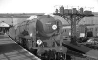 Bulleid <I>Merchant Navy</I> Pacific no 35008 <I>Orient Line</I> stands ready to take a train out of Waterloo station in the sixties. The locomotive was finally withdrawn by BR in 1967 and cut up at Buttigieg's, Newport, the following year. <br><br>[K A Gray&nbsp;//]