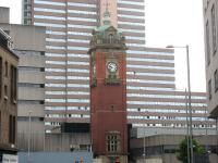The remaining monument to Nottingham Victoria station, seen here on 19 August 2010, surrounded by the Victoria Shopping Centre. The station, opened on 24 May 1900 by the Great Central and Great Northern Railway companies, originally carried two names. Nottingham Central (used by the GCR) and Nottingham Joint (used by the GNR), a situation that obviously could not be allowed to continue. The problem was finally resolved around 3 weeks later when a compromise agreement was reached to rename the station Nottingham Victoria with effect from 12 June 1900. Nottingham Victoria station was officially closed on 4 September 1967. [See image 31821] <br> <br><br>[Mark Poustie&nbsp;19/08/2010]
