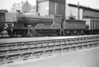 Scott class 4-4-0 no 62422 <I>Caleb Balderstone</I> photographed on its home shed at Hawick in August 1958, approximately 4 months before withdrawal by BR. <br><br>[Robin Barbour Collection (Courtesy Bruce McCartney)&nbsp;16/08/1958]
