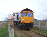GBRf 66724 stands at North Blyth Alcan terminal on 16 August 2010.<br> <br><br>[Colin Alexander&nbsp;16/08/2010]