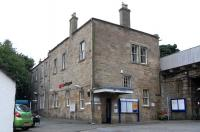The solid (and stolid) exterior of Linlithgow station in August 2010. No fripperies here.<br><br>[David Panton&nbsp;14/08/2010]
