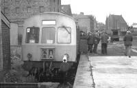 The joint SRA/SLS railtour of 26 May 1973 stands at the buffer stops�at Aberdeen's Waterloo terminus. <br> <br><br>[John McIntyre&nbsp;26/05/1973]