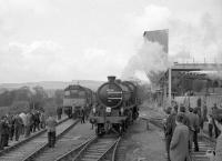 D5160 and 62005 (in the process of running round) at Redmire during the visit of the SLS <I>Three Dales Railtour</I> on 20 May 1967. The diesel had propelled the train forward in order to clear the way for 62005 to complete the run round manoeuvre using the short loop.<br><br>[Robin Barbour Collection (Courtesy Bruce McCartney)&nbsp;20/05/1967]
