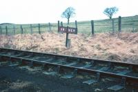 Boundary marker between the North Eastern and Scottish regions of British Railways near Carham, Northumberland, photographed in April 1967. <br><br>[Bruce McCartney /04/1967]