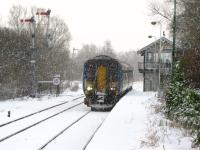 A Norwich service calls at a snowy Brundall in 2005.<br><br>[Ian Dinmore&nbsp;04/03/2005]