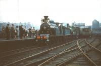 CR 123 + GNSR no 49 at Partick Central on 19 September 1959 with a special in connection with the Scottish Industries Exhibition. The covered stairway and station buildings on Benalder Street can be seen above the first coach. The 1896 station had been renamed Kelvin Hall in June that year due to its proximity to the focal point of the exhibition, a name it retained until closure five years later. [Editor's note: The location on Railscot is shown as Partick Central throughout].  <br><br>[A Snapper (Courtesy Bruce McCartney)&nbsp;19/09/1959]