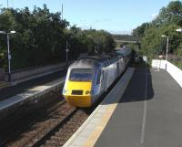 The afternoon East Coast service from Aberdeen to King's Cross pulls <br> into Inverkeithing round about tea-time on 14 August, as it has done for many years under several operators.�The HSTs look set to stay for another few years yet.<br> <br><br>[David Panton&nbsp;14/08/2010]